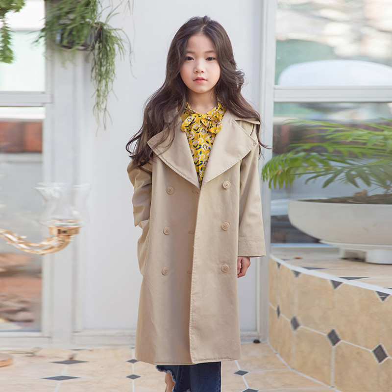 Child Coat Kids Girl Overcoat Autumn Fashion Trend Coat For Girls Teenage Jacket Long Outerwear Children Windproof Spring Tops