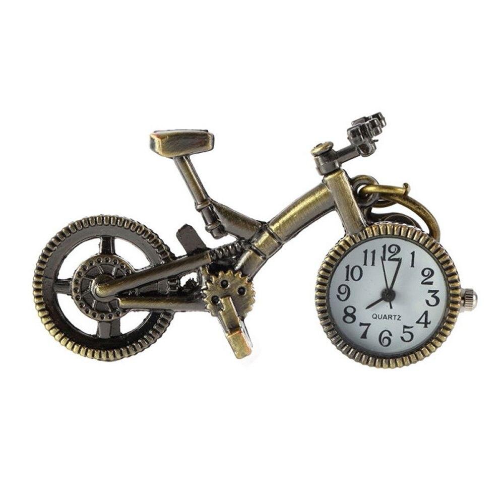 Clocks Home Decor Liberal Novelty Mini Bicycle Shaped Quartz Clock With Keychain Bronze Color Pendant Pocket Watch Creative Design Mechanical Clock Discounts Sale