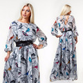 2017 New Designer Women Dress Plus Size Maxi Vestidos 6XL Oversized Print Long Sleeve Draped Print Flower Dress Party Casual
