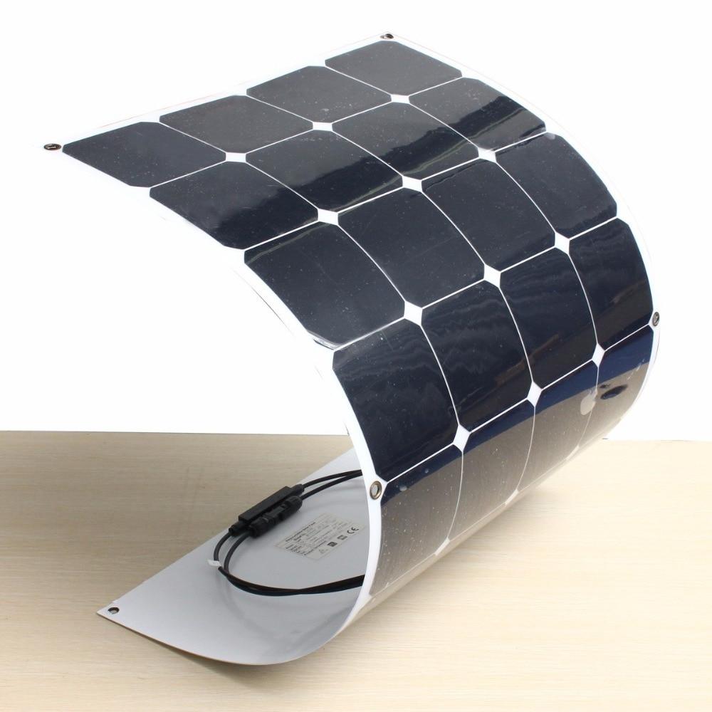 KINCO 32-10C 2Pcs 100W/18V High Conversion Efficiency Solar Panel Monocrystalline Semi Flexible Solar Panel + 1.5m Cable