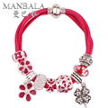 MANBALA Four Leaf Clover Lucky Charms Red String Bracelet for Women 2016 Bangle Female Silver Plated Bead Handmade Jewelry H00AV