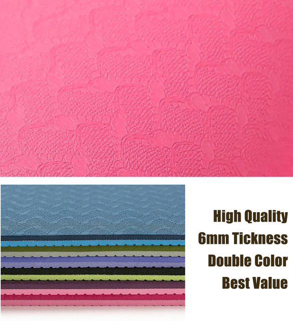 183*61cm 6mm Thick Double Color Non-slip TPE Yoga Mat Quality Exercise Sport Mat for Fitness Gym Home Tasteless Pad 3