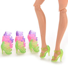 Wholesale 10 Pair Summer Shoes Heels Sandals For Gift For Barbie Girl Baby Children Toys Fashion Colorful Doll Accessories(China)