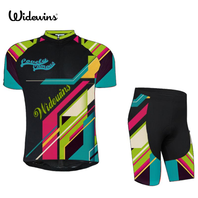 Widewins Wanita Musim Panas Bersepeda Jersey Lengan Pendek Jersey ... 69d6cb857