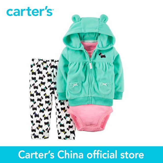 7eaa33309 Carter's 3-Piece baby children kids fall winter girl clothing 3D animal  earsbodysuit and pants Fleece Cardigan Set 121G767