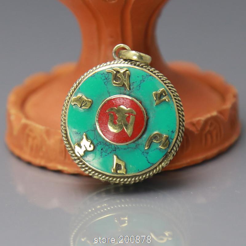TGB218 Tibetan OM MANI PADME HUM Amulets Round Prayer Box Gau 30mm Tibet Copper Inlaid Stone Pendants Wholesale Hand Jewel