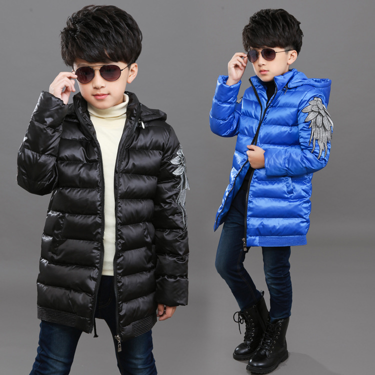 2017 New Kids Boys Winter Thick Coat Big Virgin Long Section Padded Cotton Jacket Child Wings Pattern Thick Down Cotton Outwear цены онлайн