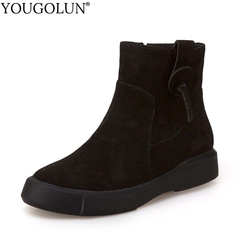 YOUGOLUN Women Ankle Boots Autumn Winter Genuine Cow Suede Nubuck Leather Black Soft Sole Boots Woman Flat Shoes #Y-255 цены онлайн