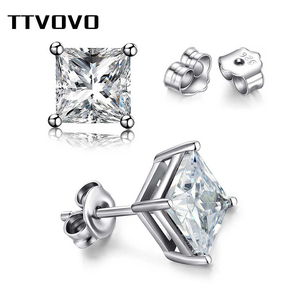 TTVOVO 925 Sterling Sliver Crystal Stud Earrings for Women Men Square Pricess Cut Cubic Zirconia CZ 4 Claws Silver Stud Earring