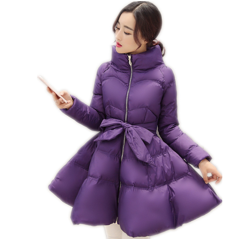 2018New Winter Women A-Line Jackets Korean Sweet Down Jacket Stand-Collar Female Cloak Cotton-Padded With Sashes   Parkas   CQ2610