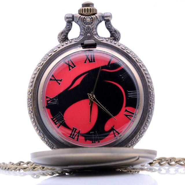 Drop Shipping Vintage Antique Big Mouth Wolf Mens Womens Quartz Pocket Watch Ana