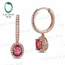 CaiMao 18KT/750 Rose Gold 1.32 ct Natural IF Pink tourmaline & 0.26 ct Round Cut Diamond Engagement Gemstone Earrings Jewelry