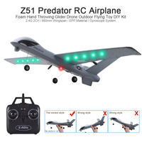Z51 2.4Ghz RC Airplane with LED Flying Aircraft EPP Foam Hand Throwing Wingspan Glider Plane 20 Minutes Fligt Time RTF Kids Toys