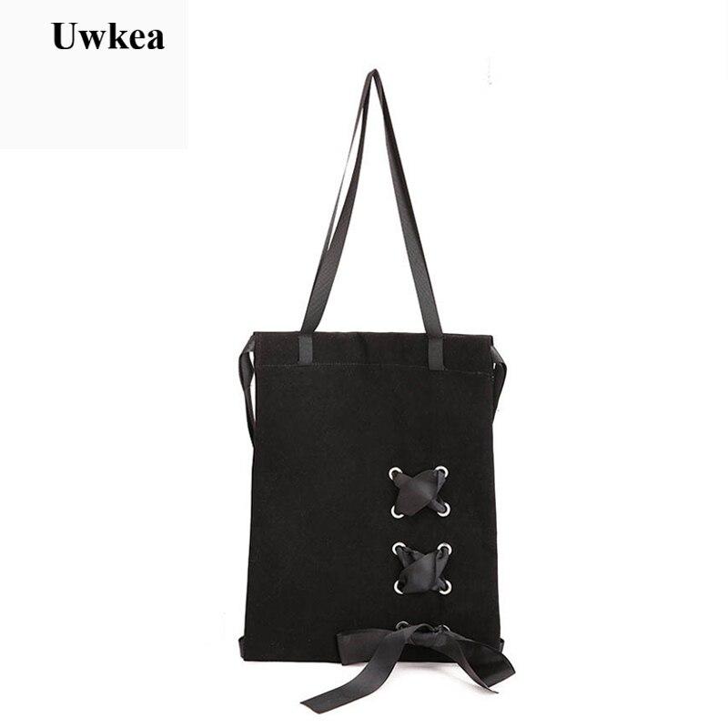 Women's Ribbons Pumping String Black Backpack Female Multifunction Bow Bandage Shoulder Bag Ladies Backpacks National Style