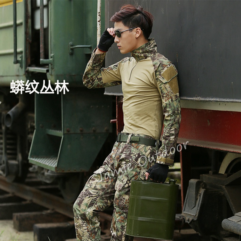 2016 New kryptek mandrake military tactical combat shirt + pants paintball hunting suit army uniform with elbow knee pads