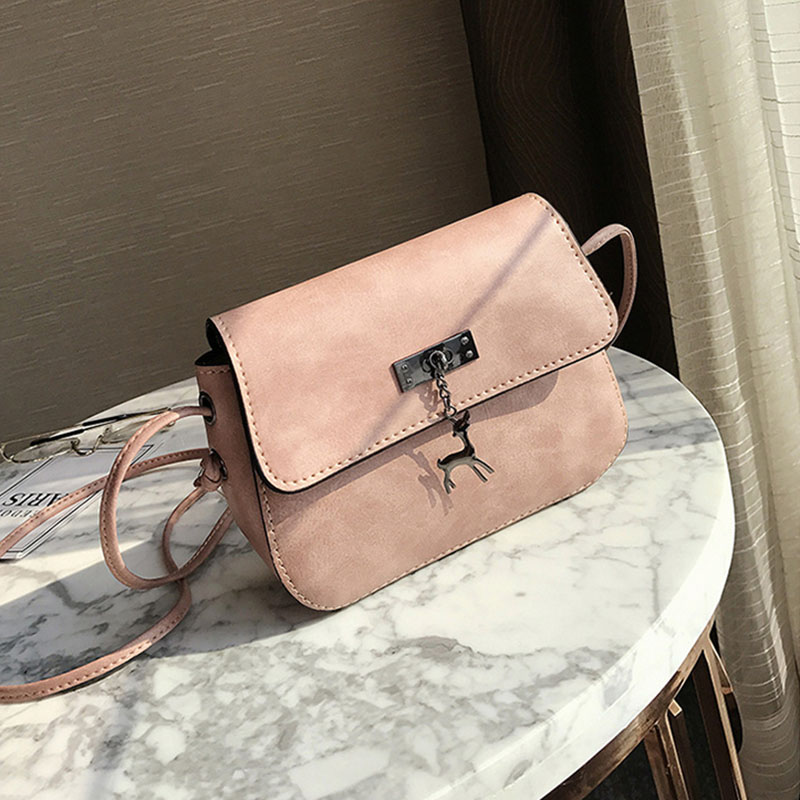 Women Messenger Bags Cross Body Bag PU Leather Mini Female Shoulder Bag Handbags(Pink)