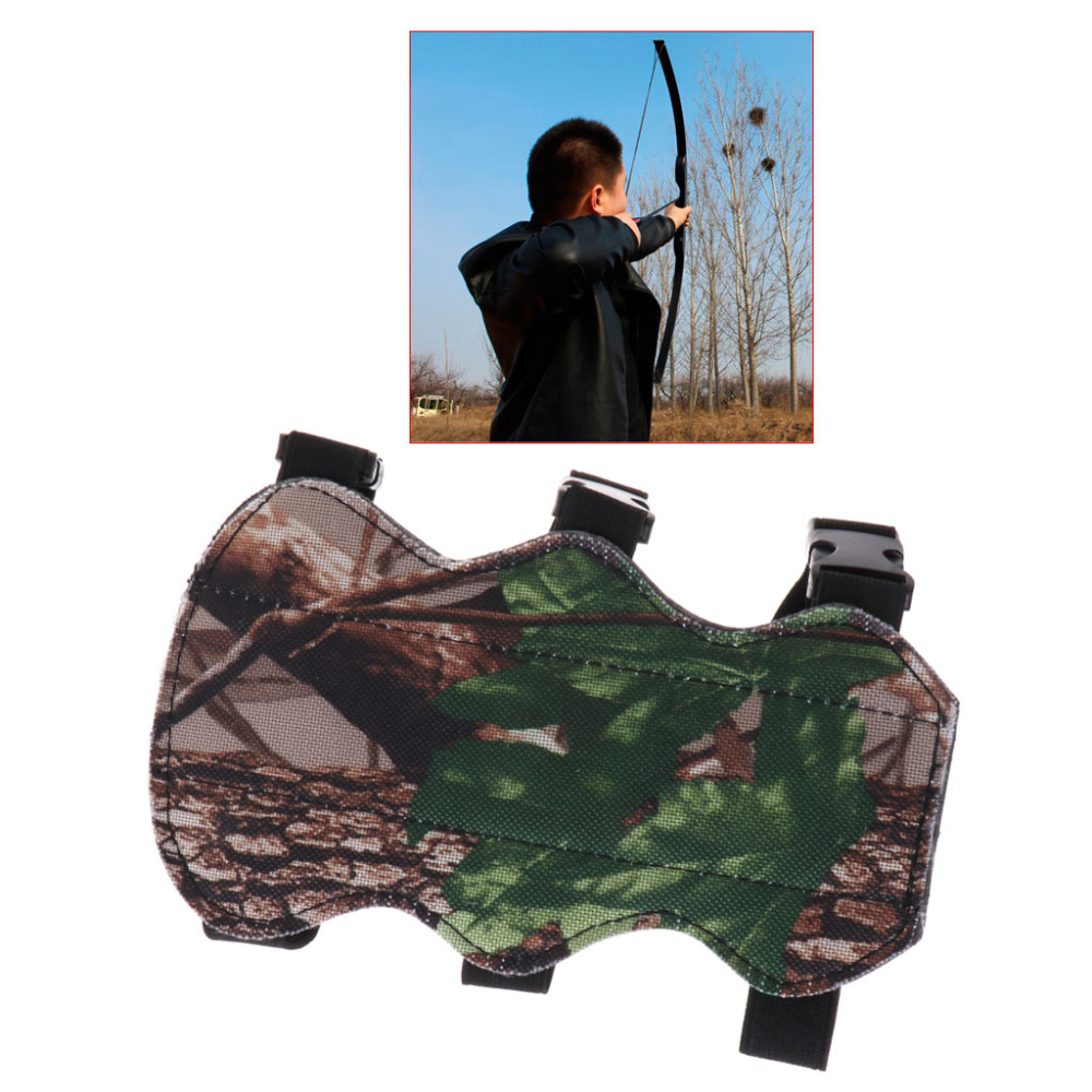Archery Arch Forearm Guard Arm Camouflage Archery Armbands Protection 3 Strap Camo Leather Recurve Bow Safe