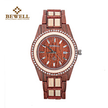 лучшая цена Waterproof Wooden Wristwatches for Women Unique Lug Design Best BEWELL Quartz Wood Watches with Calendar Wrist Watches 1052A