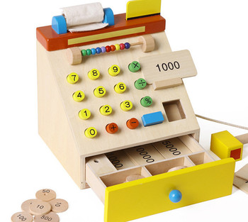 New wooden toy Simulation cash register Baby toy Free shipping