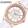 Comtex girls reloj de señoras relojes hermosa casual caja de la aleación correa de cuero de cuarzo calendario resistente al agua de cristal reloj de las mujeres blanco