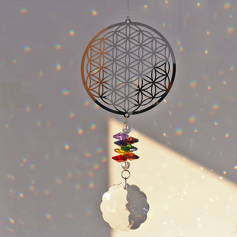 H&D Crystal Flower Of Life Suncatcher Rainbow Maker Window Hanging Ornament Souvenir Christmas Gift Home Wedding Decoration