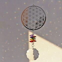 H & d flor de cristal da vida suncatcher rainbow maker janela pendurado ornamento lembrança presente natal casa decoração casamento