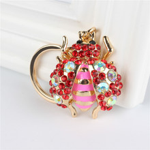 Red Beatle Insect Pendant Charm Rhinestone Crystal Purse Bag Keyring Key Chain Accessories Wedding Party Lover Friend Gift