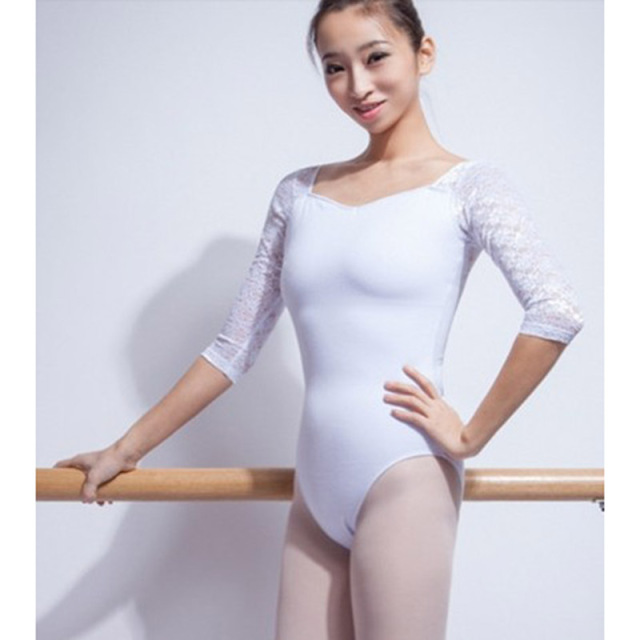 2017 New Floral Lace Ballet Dance Leotard For Women Professional Ballet  Dance Gymnastics Leotard Adult White Half Sleeves C067 e8a2735a5