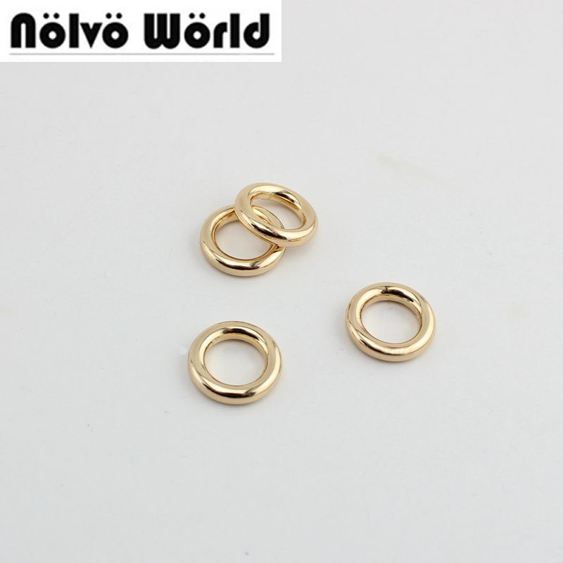 100pcs 3.0mm Line 10mm  4colosr Bags Accessory Metal Alloy Brushed Antique Brass Welded O Ring  Metal Round Edge Welded O Rings