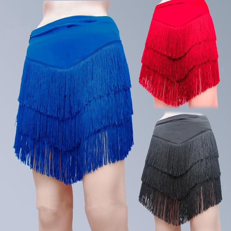 Hot! Milk Silk Latin Dance Skirt Sexy Tassel Latin Dance Skirt For Women Latin Dance Exercise Skirts Women Dance Skirts 7 Colors