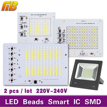 2pcs Lamps Chip SMD LED Smart IC 220V 10W 20W 30W 50W 90W real power For Outdoor FloodLight Cold/Warm White DIY spotlight