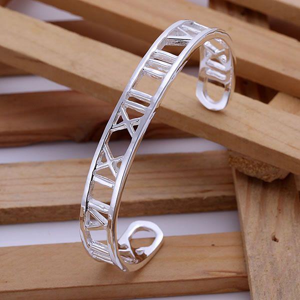B099 925 free shipping sterling silver bangle bracelet, 925 silver fashion jewelry Big Hollow Rome Bangle agqaixxa ajsajaza