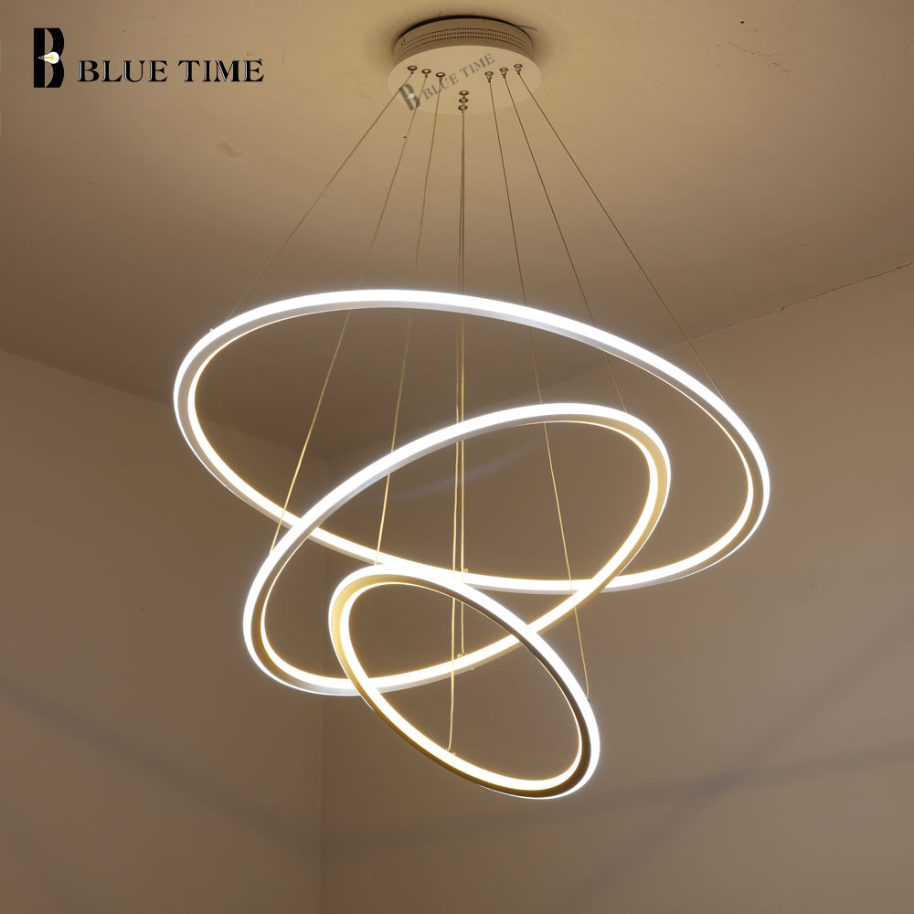 Nuevo moderno 3 anillos de círculo LED luces colgantes para sala de estar comedor LED Lustre lámpara colgante techo luminaria - 2