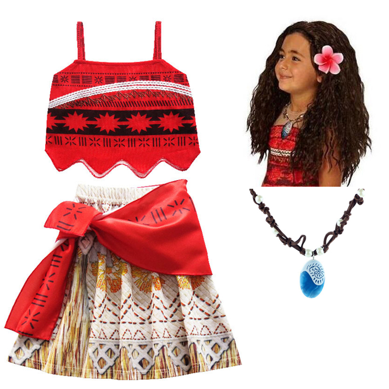 Kids Girl Princess Party Dress Moana Adventure Elsa Clothing Girls Dress Set with wig and Necklace baby Vaiana Cosplay Clothes girls fairy tale princess synthetic wavy wig children elsa belle rapunzel moana aurora anna mermaid party braid cosplay hair wig