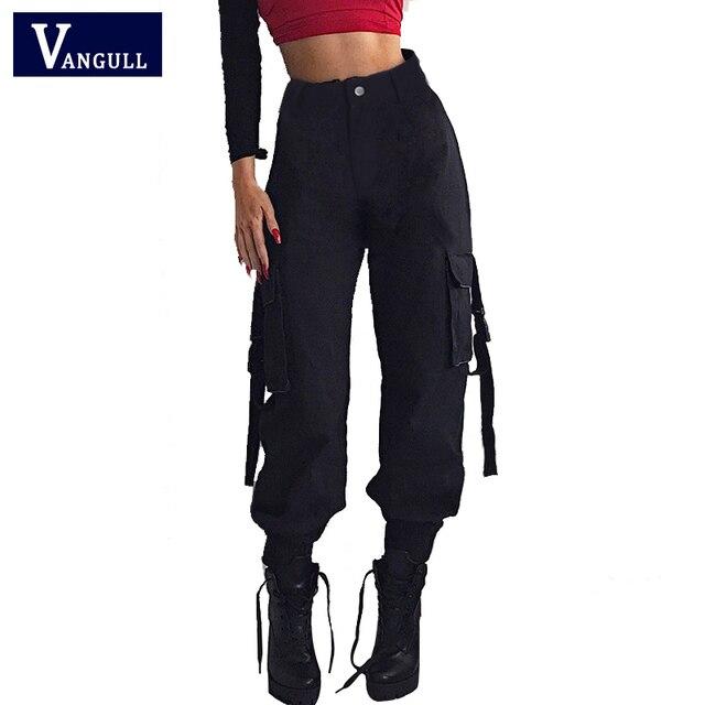 Vangull 黒ハイウエストカーゴパンツ女性ポケットパッチワークルースストリートペンシルパンツ 2019 ファッションヒップホップ女性のズボン