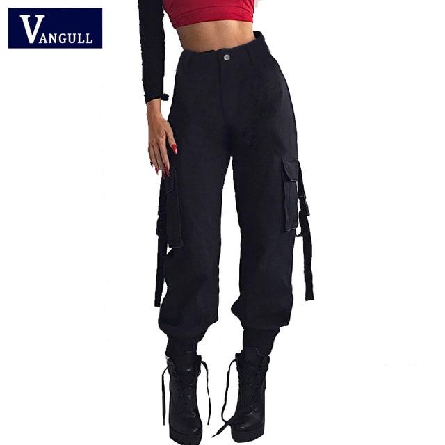 Vangull שחור גבוהה מותניים מכנסיים מטען נשים כיסי טלאים Loose Streetwear מכנסי עיפרון 2019 אופנה היפ הופ נשים של מכנסיים