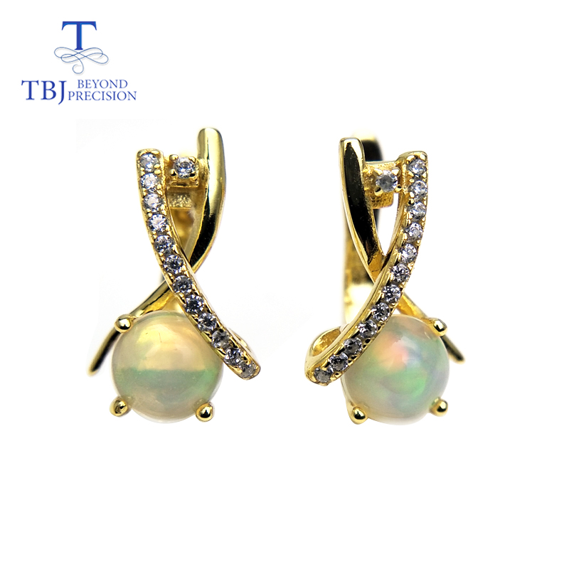 TBJ New Clasp earring with natural ethiopian opal round 6mm 1 6ct gemstone lovely earring 925