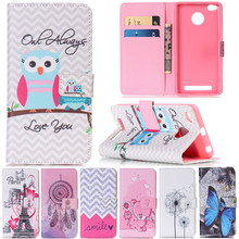 Luxury Cute Cartoon Owl Butterfly Tower Leather Flip Fundas Phone Cases For Xiaomi Redmi 3 Pro / Xiaomi RedMi 3s 3 S Cover Case