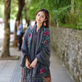 Bom Negócio de Moda de Nova Hot Outono Inverno Mulheres Bordado Nacional Lenços Estilo Sarong Envoltório Macio Xale Cinza Presente 1 PC