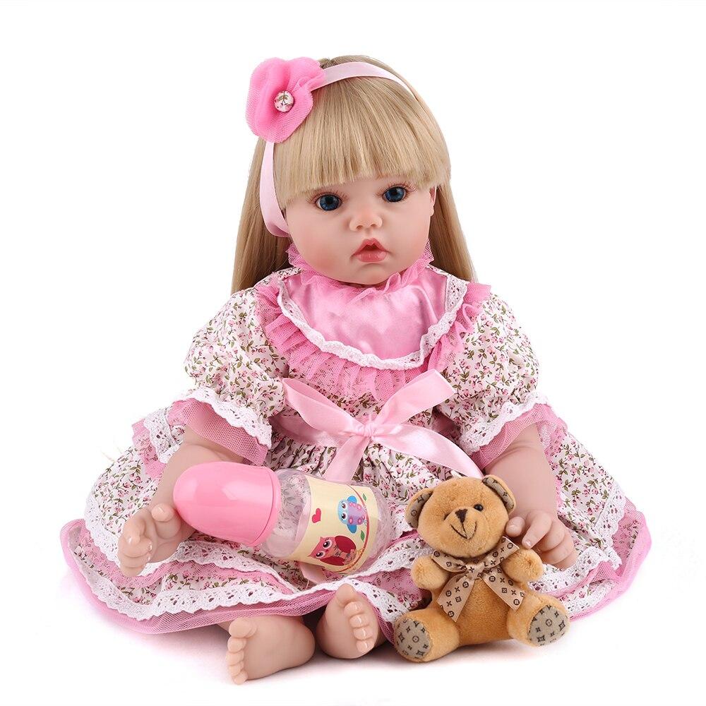 NPKDOLL Reborn Baby Doll Vinyl Soft Teddy Bear Toys Girl Princess Pink Flower 22 inch Adorable