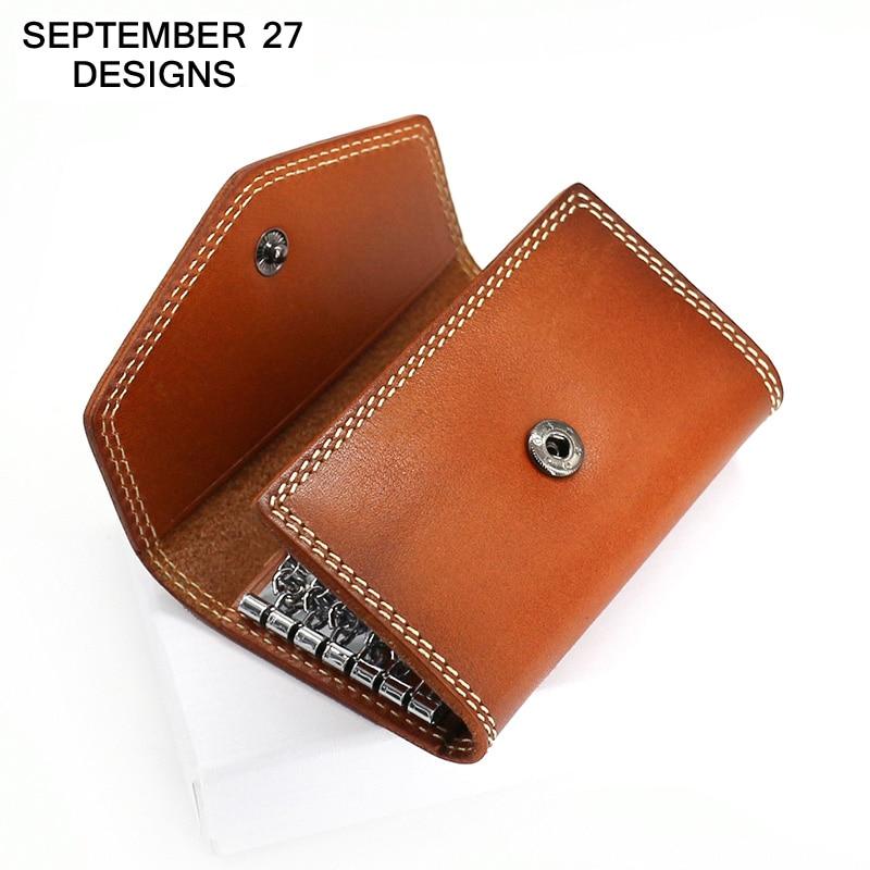 Key Wallets Genuine Leather Women Mini Wallet Retro Key Case Men Purse Vintage Housekeeper Holder Keychain Cowhide Card Holders