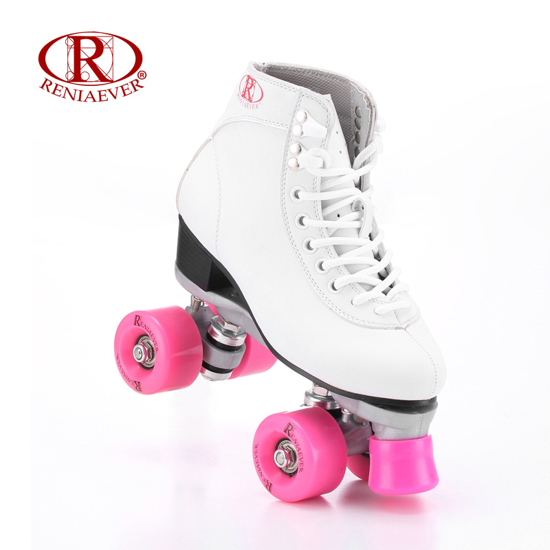 RENIAEVER Roller Skates Double Line Skates White Women Female Lady Adult Pink PU 4 Wheels Two line Skating Shoes Patines reniaever double roller skates skating shoe gift girls black wheels roller shoe figure skates white free shipping