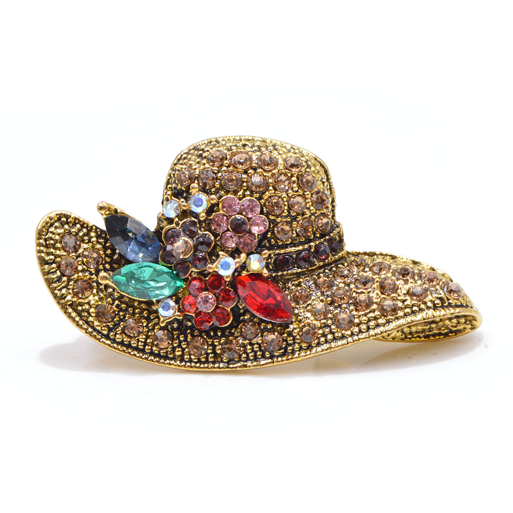 Ustar Fashion Hat Brooches For Women Pins Gold Color Blue: CINKILE 2 Colors Choose Rhinestone Hat Brooches For Women