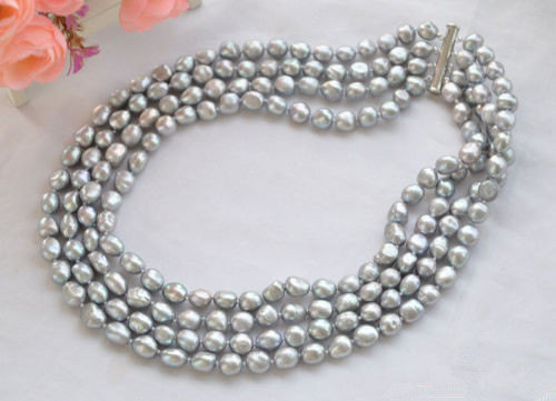 Freshwater Pearl Necklace,Cultured AA 8-9MM Gray Freshwater Pearl Necklace AA 8-9MM 4 Rows Real Pearl Jewellery