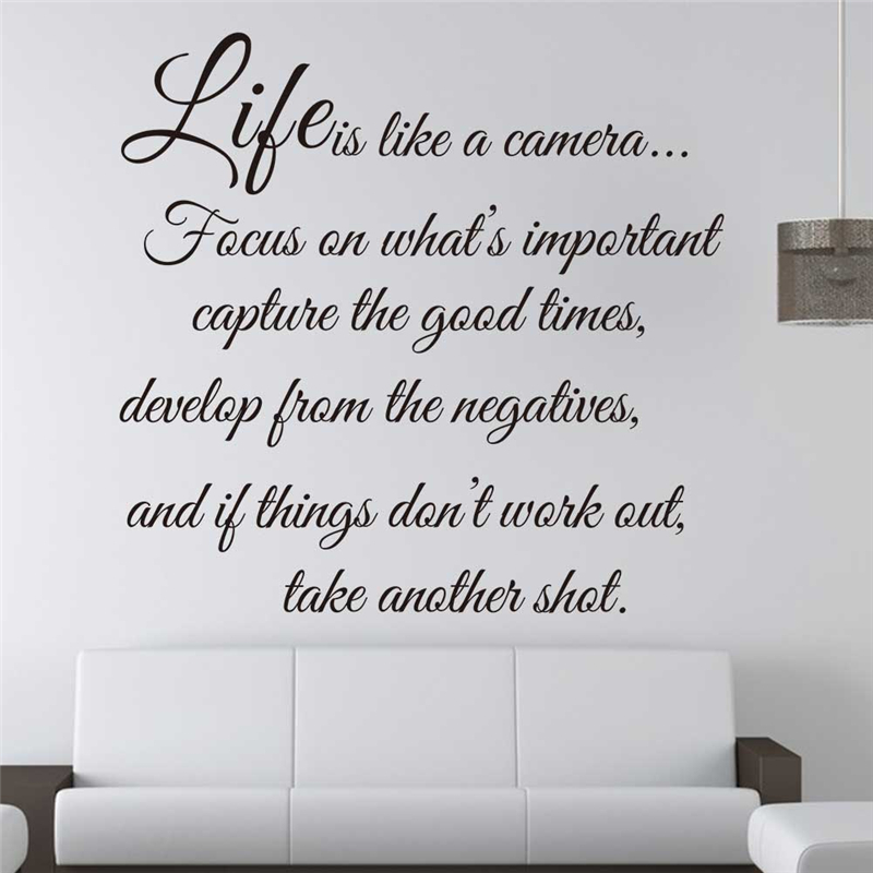 Life Is Like A Camera Vinyl Wall Art Stickers Quotes Living Room Home Indoor Decor Diy