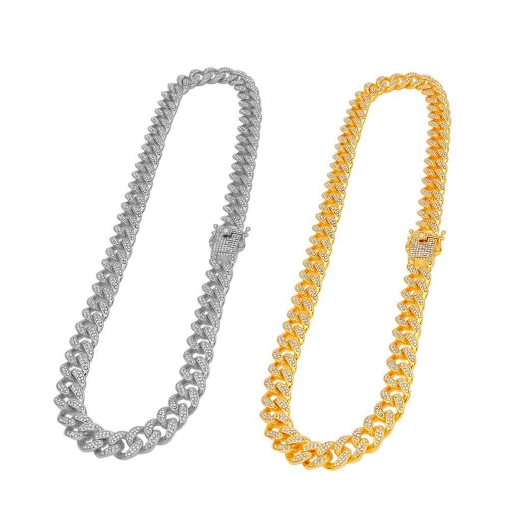 Iced Out Bling Rhinestone Crystal złoty srebrny Miami kubański Link Chain dla kobiet mężczyzn Hip hop długi naszyjnik modne naszyjniki zestaw