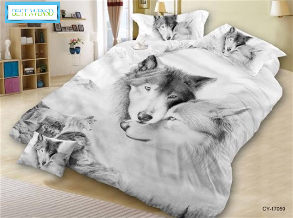 BEST WENSD Reactive printing Wolf Lion bedding housse de couette western Home hotel Animal tiger cat