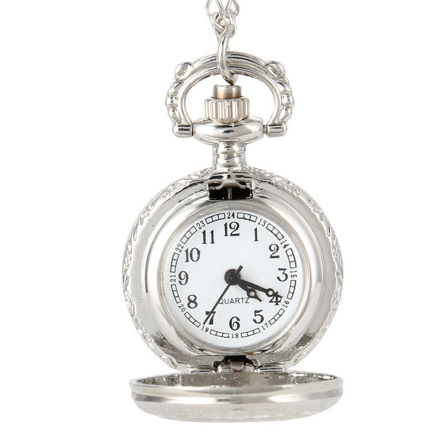Fashion Vintage Women Quartz Pocket Watch Alloy Flowers Hollow Out Lady Girl Swe