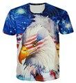 2016 harajuku new t shirt 3D print American Flag pigeons / Eagle short sleeve crewneck tops t-shirts fashion streetwear tops