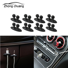 8PCS mini car charger wire button headset / USB cable clip interior accessories